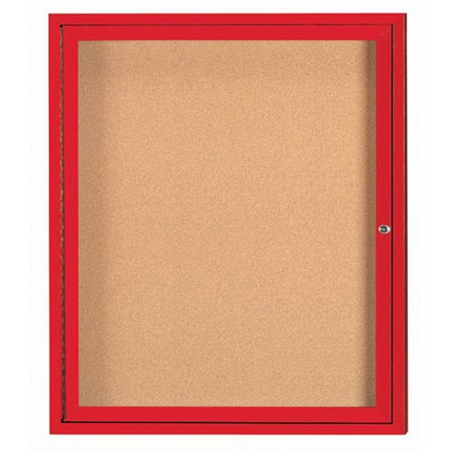 "Aarco DCC3630RIR 1 Door Indoor Illuminated Enclosed Bulletin Board with Red Powder Coated Aluminum Frame 36"" x 30"""