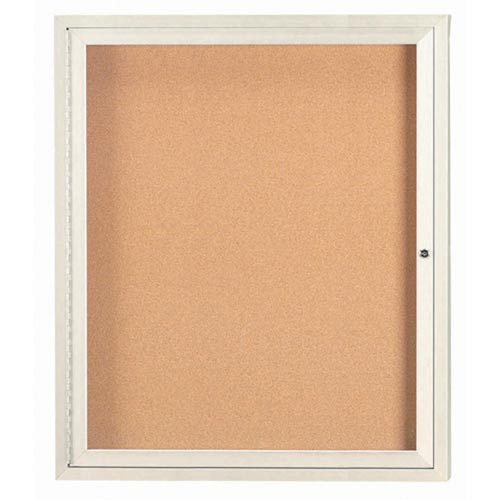 "Aarco DCC3630RIV 1 Door Indoor Enclosed Bulletin Board with Ivory Powder Coated Aluminum Frame 36"" x 30"""
