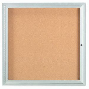 "Aarco DCC3636RI 1 Door Indoor Illuminated Enclosed Bulletin Board with Aluminum Frame 36"" x 36"""