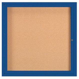 "Aarco DCC3636RIB 1 Door Indoor Illuminated Enclosed Bulletin Board with Blue Powder Coated Aluminum Frame 36"" x 36"""