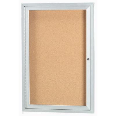 "Aarco DCC3636RIBA 1 Door Indoor Illuminated Enclosed Bulletin Board with Bronze Anodized Aluminum Frame 36"" x 36"""