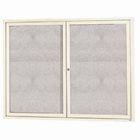 "Aarco DCC3636RIIV 1 Door Indoor Illuminated Enclosed Bulletin Board with Ivory Powder Coated Aluminum Frame 36"" x 36"""