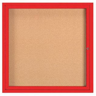 "Aarco DCC3636RIR 1 Door Indoor Illuminated Enclosed Bulletin Board with Red Powder Coated Aluminum Frame 36"" x 36"""
