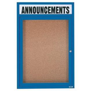 "Aarco DCC4836RHIB 1 Door Indoor Illuminated Enclosed Bulletin Board with Blue Powder Coated Aluminum Frame and Header 48"" x 36"""