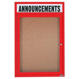 """Aarco DCC4836RHIR 1 Door Indoor Illuminated Enclosed Bulletin Board with Red Powder Coated Aluminum Frame and Header 48"""" x 36"""""""