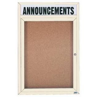 """Aarco DCC4836RHIV 1 Door Indoor Enclosed Bulletin Board with Ivory Powder Coated Aluminum Frame and Header 48"""" x 36"""""""