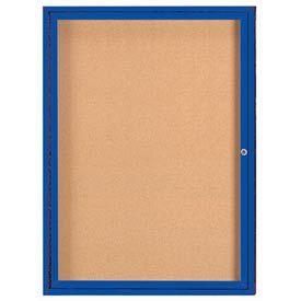 "Aarco DCC4836RIB 1 Door Indoor Illuminated Enclosed Bulletin Board with Blue Powder Coated Aluminum Frame 48"" x 36"""