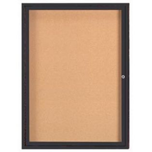 "Aarco DCC4836RIBA 1 Door Indoor Illuminated Enclosed Bulletin Board with Bronze Anodized Aluminum Frame 48"" x 36"""