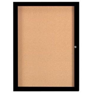 "Aarco DCC4836RIBK 1 Door Indoor Illuminated Enclosed Bulletin Board with Black Powder Coated Aluminum Frame 48"" x 36"""