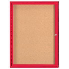 "Aarco DCC4836RIR 1 Door Indoor Illuminated Enclosed Bulletin Board with Red Powder Coated Aluminum Frame 48"" x 36"""