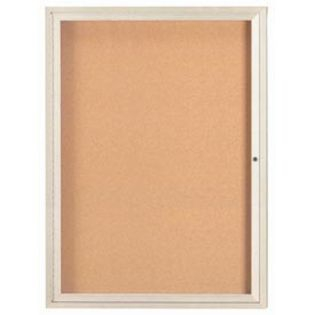 "Aarco DCC4836RIV 1 Door Indoor Enclosed Bulletin Board with Ivory Powder Coated Aluminum Frame 48"" x 36"""