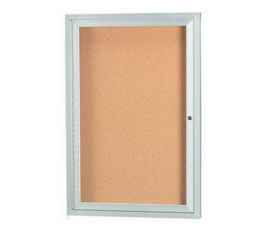 Aarco DCC2418R 1 Door Enclosed Bulletin Board with Aluminum Frame 24