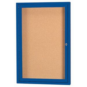 Aarco DCC2418RB 1 Door Enclosed Bulletin Board with Blue Coated Aluminum Frame 24