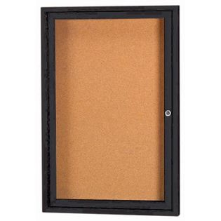 Aarco DCC2418RBK 1 Door Enclosed Bulletin Board with Black Powder Coated Aluminum Frame 24