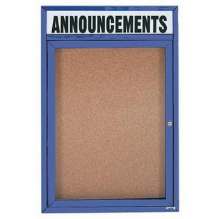 Aarco DCC2418RHB 1 Door Enclosed Bulletin Board with Blue Powder Coated Aluminum Frame and Header 24