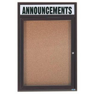 Aarco DCC2418RHBA 1 Door Enclosed Bulletin Board with Bronze Anodized Aluminum Frame and Header 24