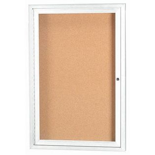 Aarco DCC2418RHW 1 Door Enclosed Bulletin Board with White Powder Coated Aluminum Frame and Header 24
