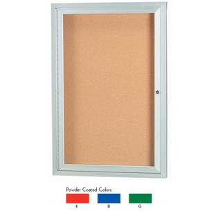 Aarco DCC3624RB 1 Door  Enclosed Bulletin Board with Blue Powder Coated Aluminum Frame  36
