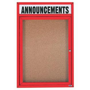 Aarco DCC3624RHR 1 Door  Enclosed Bulletin Board with Red Powder Coated Aluminum Frame  and Header 36