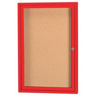 Aarco DCC3624RR 1 Door  Enclosed Bulletin Board with Red Powder Coated Aluminum Frame  36