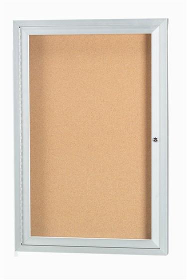 Aarco DCC3630R 1 Door  Enclosed Bulletin Board with Aluminum Frame  36