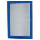 Aarco DCC3630RB 1 Door  Enclosed Bulletin Board with Blue Powder Coated Aluminum Frame  36