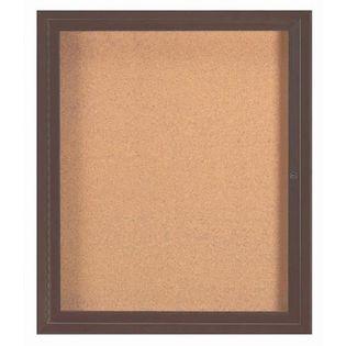 Aarco DCC3630RBA 1 Door  Enclosed Bulletin Board with Bronze Anodized  Aluminum Frame  36