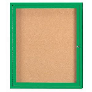 Aarco DCC3630RG 1 Door  Enclosed Bulletin Board with Green Powder Coated Aluminum Frame  36