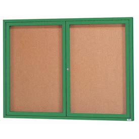 Aarco DCC4836RG  1 Door Enclosed Bulletin Board with Green Powder Coated Aluminum Frame  48