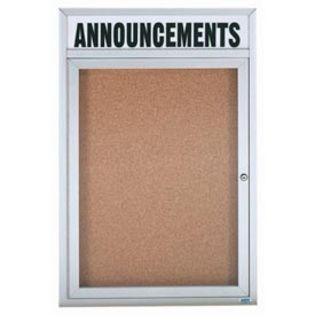 Aarco DCC4836RH  1 Door Enclosed Bulletin Board with Aluminum Frame  and Header 48