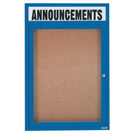 Aarco DCC4836RHB  1 Door Enclosed Bulletin Board with Blue Powder Coated Aluminum Frame  and Header 48