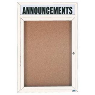 Aarco  DCC4836RHW 1 Door Enclosed Bulletin Board with White Powder Coated Aluminum Frame  and Header 48