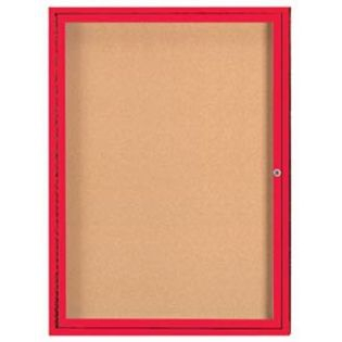 Aarco DCC4836RR  1 Door Enclosed Bulletin Board with Red Powder Coated Aluminum Frame  48