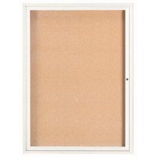 Aarco DCC4836RW  1 Door Enclosed Bulletin Board with White Powder Coated Aluminum Frame  48
