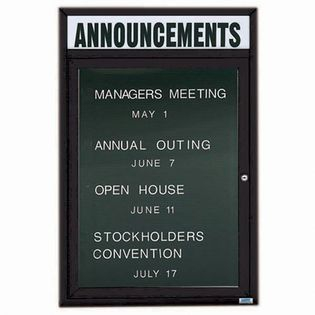 Aarco ADC2418HBK Indoor Enclosed Directory Board with Black Anodized Aluminum Frame and Header 24