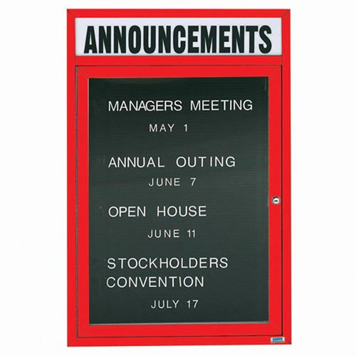 Aarco ADC4836HR Indoor Enclosed Directory Board with Red Anodized Aluminum Frame and Header 48