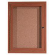 Aarco DCCO3624R  1 Door Indoor Enclosed Bulletin Board with Aluminum Wood-Look Oak Finish 36