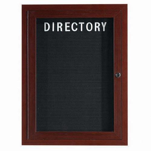 Aarco ADCWW2418R Indoor Enclosed Directory Board with Aluminum Wood-Look Walnut Finish 24
