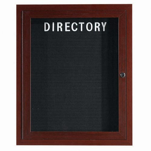 Aarco ADCWW3630R Indoor Enclosed Directory Board with Aluminum Wood-Look Walnut Finish 36