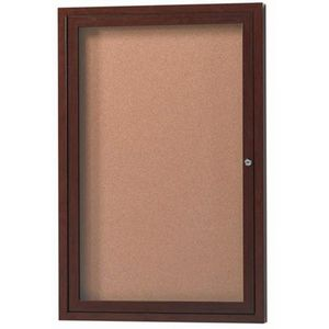 Aarco DCCWW3624R 1 Door Indoor Enclosed Bulletin Board with Aluminum Wood-Look Walnut Finish 36