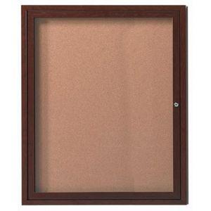 Aarco DCCWW3630R 1 Door Indoor Enclosed Bulletin Board with Aluminum Wood-Look Walnut Finish 36