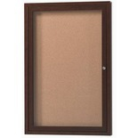 Aarco DCCWW4836R 1 Door Indoor Enclosed Bulletin Board with Aluminum Wood-Look Walnut Finish 48