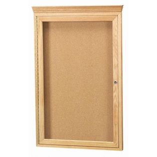 Aarco OBC3624RC 1 Door Enclosed Bulletin Board with Crown Molding and Oak Finish  36