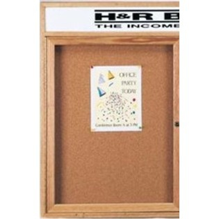 Aarco OBC2418RH 1 Door Enclosed Bulletin Board with Header and Oak Finish   24