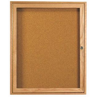Aarco OBC3630R 1 Door Enclosed Bulletin Board with Oak Finish  36
