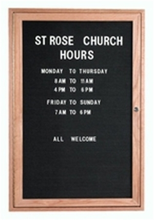 Aarco ODC2418 1 Door Enclosed Changeable Letter Board with Oak Finish 24