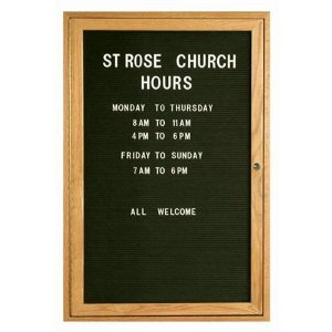Aarco ODC3624 1 Door Enclosed Changeable Letter Board with Oak Finish 36
