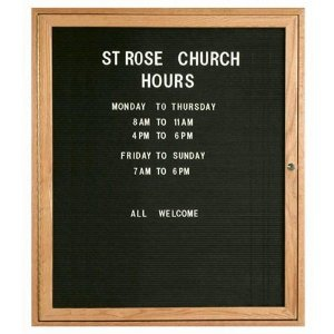 Aarco ODC3630 1 Door Enclosed Changeable Letter Board with Oak Finish 36