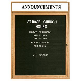 Aarco ODC3630H 1 Door Enclosed Changeable Letter Board with Header and Oak Finish 36