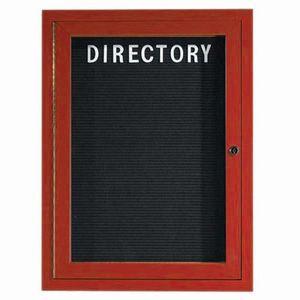 "Aarco OADCW2418R 1 Door Outdoor Enclosed Directory Board with Aluminum Wood-Look Cherry Finish  24"" x 18"""
